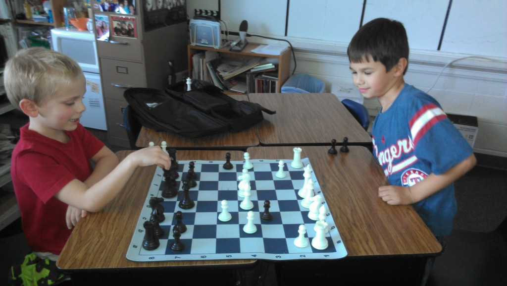 """MJ and a new friend at """"Chess Club"""" after school."""