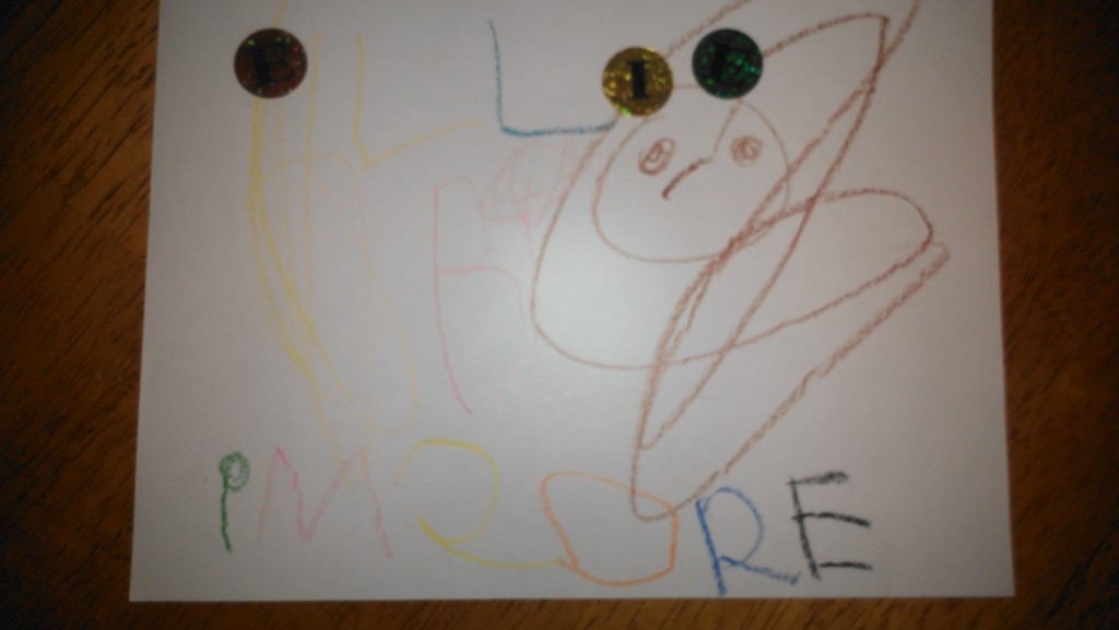 """Hard to tell, but she has put her name at the top w/ stickers and crayon, and written """"im sore"""" at the bottom."""