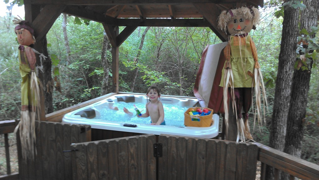 The kids LOVED the hot tub!