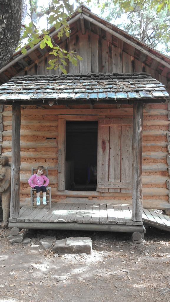 Exploring an old log cabin from pioneer days....