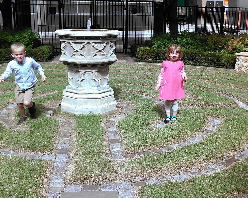 In the labyrinth garden after church...