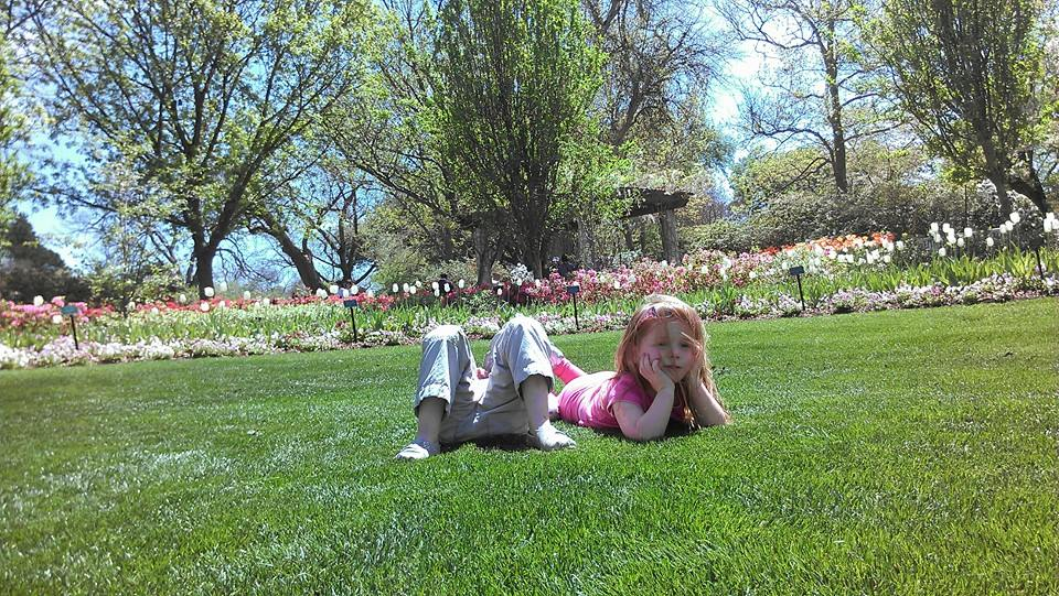 Ellie and friend Kate relax at the Dallas Arboretum