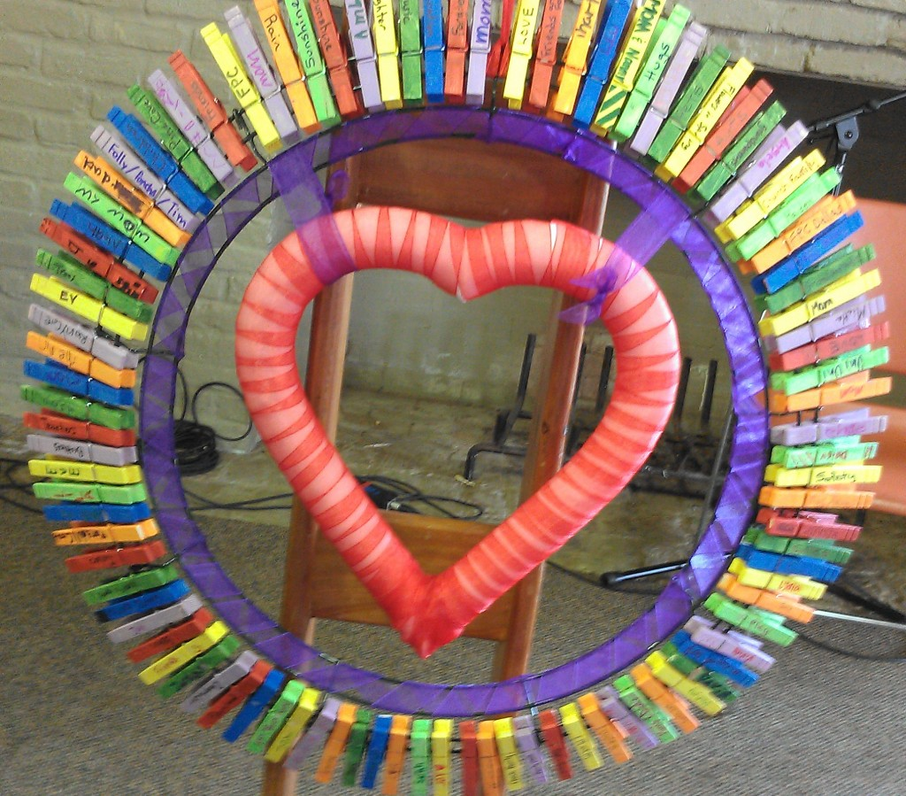 """A """"Gratitude"""" wreath with painted clothespins"""