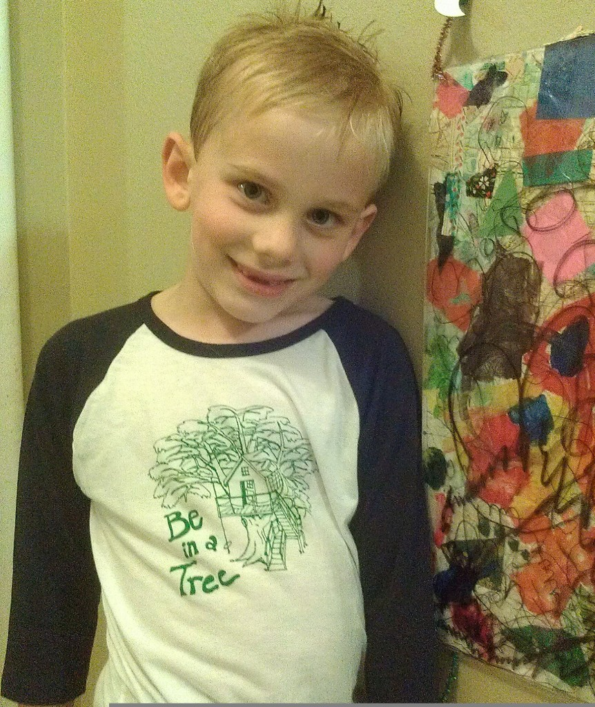 """Modeling your new """"Be in a Tree"""" shirt from Pete Nelson's Treehouse Company!"""