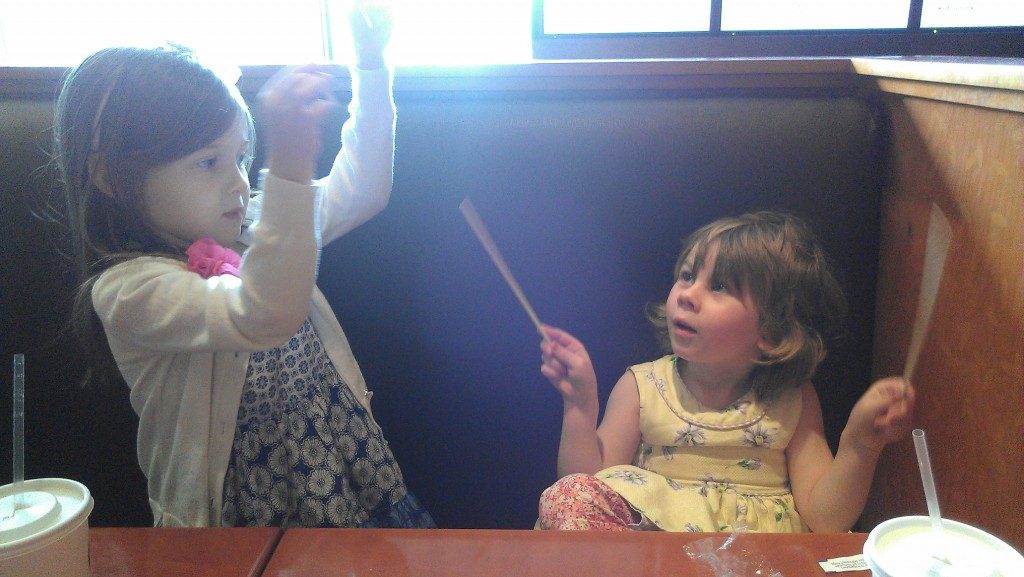 Inspired by the female conductor, we used our chopsticks at Pei Wei after the concert.